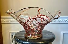 Hand Blown Art Glass Clear Bowl with Raised Red Line Pattern Fluted Edges