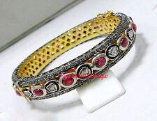 Silver Ruby Polki Party Wear Bracelet Handmade Victorian Rose Cut Diamond 5.80ct
