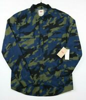 NWT Levi's Mens Size Large Button Down Blue Green Camouflage Long Sleeve