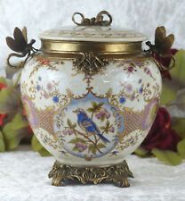 Porzellan Bronze Dose Bonboniere Deckeldose Craquele Schatulle Antik Vogel Urne