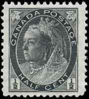 Canada #74 mint XF OG NH 1898 Queen Victoria 1/2c black Numeral JUMBO CV$60.00