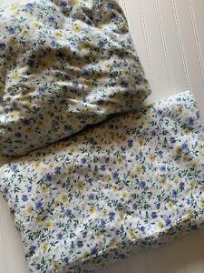 Laura Ashley Alexander FLANNEL Sheets Blue Yellow Floral Cottagecore QUEEN 2 Pcs