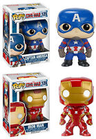 Funko POP! Marvel ~ CAPTAIN AMERICA & IRON MAN CIVIL WAR FIGURE SET ~ MCU
