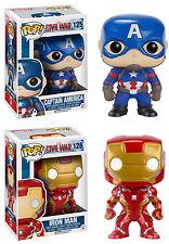 Funko POP! Marvel ~ CAPTAIN AMERICA & IRON MAN CIVIL WAR FIGURE SET ~ MCU