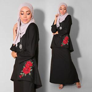 New Black Women Muslimah Long sleeve Kurung Embroidery Flower Plus Size Dress