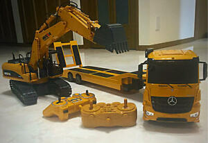 TRAILERS RADIO CONTROL POWER SHOVEL R/C SET TOY COLLECTIBLE USED FREE SHIPPING