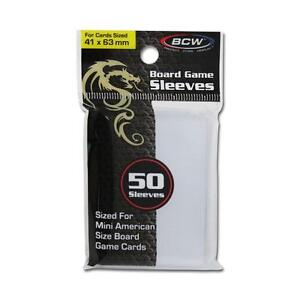 2 pack (100) BCW BOARD GAME SLEEVES 41MM X 63MM for Mini American Cards