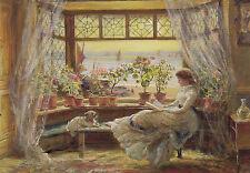 Kunstkarte / Postcard Art - Lewis: Lesende am Fenster