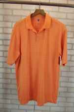 Nike Golf Mens Polo Shirt Size L Large Orange & White Striped Short Sleeve S/S