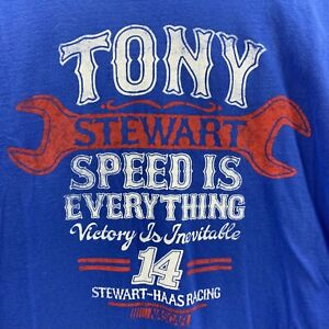 NASCAR Tony Stewart Speed is Everything Stewart-Haas Racing Mens XL Blue T-Shirt