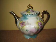 Tea pot LEFTON FLOWER DESIGN GOLD GILDED TEAPOT COFFEE POT*LID* VICTORIAN JAPAN