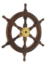 Wooden  Ship Wheel With Brass Hub - 18 Inches  -  Nautical