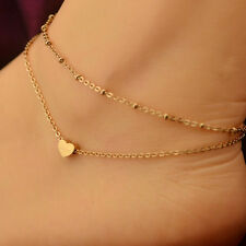 Double Layer Chain Foot Anklet Hi 1Pc Sexy Gold Tone Heart Ankle Bracelet
