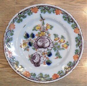 Lambeth Mid 18th Century Tin Glazed Earthenware Delft Plate 22.5cm Diameter