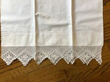 White Cotton & Crochet Antique Unused Pillow Case