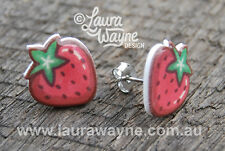 Strawberry Stud Earrings - Handmade - Unique Gift Cartoon Studs Quirky