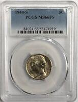 1944-S Jefferson Silver War Nickel 5C PCGS MS66FS - Perfect Spotless Gem