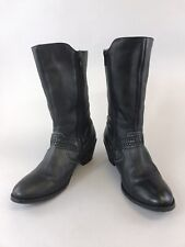 Moshulu Size 39 UK6 Black Leather Ankle Zip Up Heeled Booties Lined Biker Boots