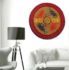 """32"""" KHAKI HAND EMBROIDERED WALL DÉCOR HANGING TAPESTRY THROW RUNNER IND TEXTILE"""