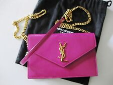 Saint Laurent AUTH NWT Gold YSL Monogram Electric Pink Glossy Wallet Chain Bag