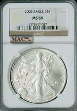 2005 SILVER EAGLE  NGC MAC MS-69 PQ 2ND FINEST GRADE SPOTLESS  .