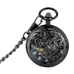 Mechanical Pocket Watch Dragon Totem Retro Design Skeleton Classic Chain Dress