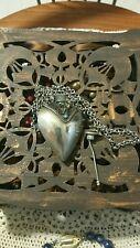 Collana boccetta porta essenze con piccolo turchese a cuore etnico vintage