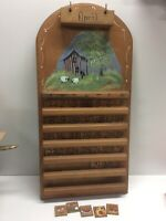 Vintage Wood Perpetual Calendar With Hand Painted Hobbit House Scene R1