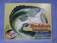 Heddon Frogs Fishing Tackle Bait Tin Metal Sign Fish NEW