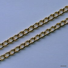 Gold plated curb chain 8 X 6 X 1.2 mm wire sold off the reel continuous length
