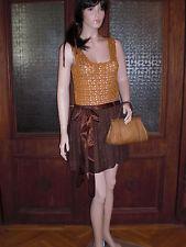 Vtg Genuine 60s Hand Crochet Lace Orange Brown Mini Mod Dress! Size 8/10 Superb!