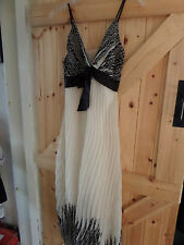 "Hippie / Boho Dress Black & White Chest 34"" Approx Size 10 Lovely Floaty Dress"