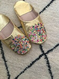 MOROCCAN GOLD LEATHER SEQUIN BABOUCHE SLIPPERS WOMENS MULES Size 4