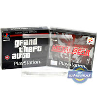 PS1 Game Box Protectors x 10 for Playstation Dual CD STRONG 0.5mm Display Case