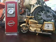 petrol pump clock and motorbike motorcycle novelty clock
