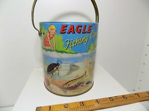 Eagle Children's Comic Chad Valley Fishing Tin Can Toy Pail c1950s Fish Snail