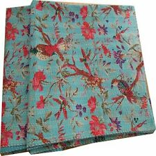 Indian Bird Print Twin Size Kantha Quilt  Blanket Bed Cover Cotton Kantha Throw
