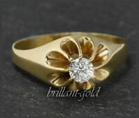 Diamant Ring aus 585 Gold, Gelbgold, 0,22ct Brillant in River D, Antik um 1925