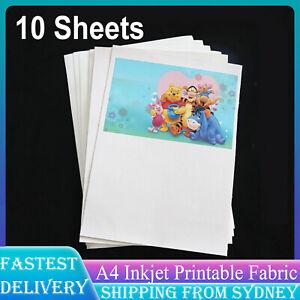 10 Sheets A4 Inkjet Printable Fabric Matte 100% Cotton Waterproof 210mmx297mm AU