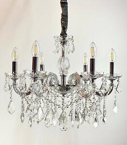 Kristall Kronleuchter Ø60cm 6 Leuchten Arme mit Kristallglas ummantelt Silber
