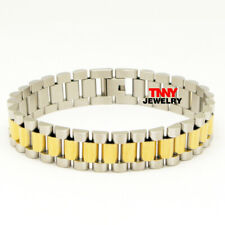 """Watch Band Link Chain Wrist Bracelets 9"""" Men's Stainless Steel 15mm Two Tone"""