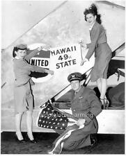 Photo 1953 United Airlines Crew & U. S. Flag - Hawaii