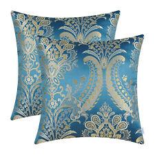 "2Pcs CaliTime Seaport Blue Pillows Shells Cushion Cover Floral Sofa Decor 18x18"""