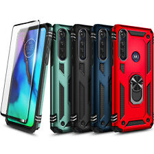 For Motorola Moto G Power Case Ring Stand Phone Cover + Tempered Glass Protector