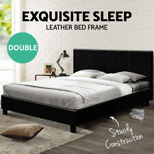 Artiss Bed Frame Single Double Queen Size Base Mattress Fabric Wooden Grey