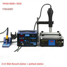 YIHUA862D+ 853A BGA Rework Station Hot Air Gun Soldering Iron Preheating Station