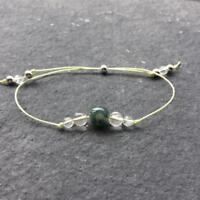 Crystal Healing Bracelet Moss Agate Citrine Sterling Silver - Wealth Prosperity