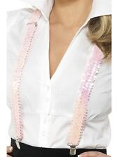 Pink Sequin Braces Gangster 1920's 1950's Schoolgirl Braces - Ladies Fancy Dress
