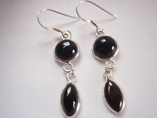 Black Onyx Marquise 925 Sterling Silver Dangle Earrings Corona Sun Jewelry
