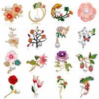 Rhinestone Crystal Pearl Flower Brooch Pin Wedding Bridal Bouquet Jewelry Gift